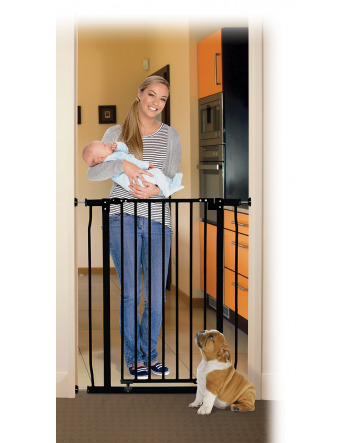 LIBERTY XTRA-TALL SECURITY GATE WITH SMART STAY-OPEN FEATURE - BLACK