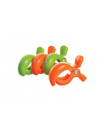 STROLLERBUDDY® STROLLER CLIPS 4 PACK - GREY/ORANGE