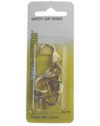 SAFETY CUP HOOKS BRASS 4 PACK