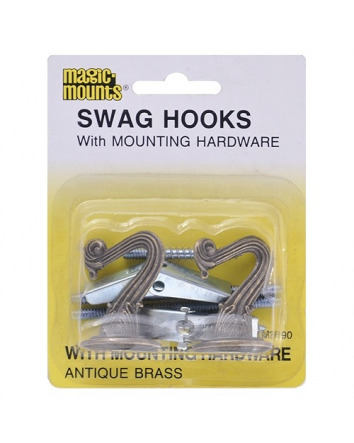 SWAG HOOKS - ANTIQUE BRASS 2 PACK