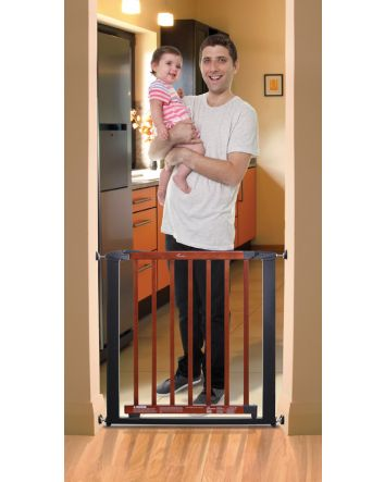 SAVANNAH/ WINDSOR SECURITY GATE - CHARCOAL METAL/ CHERRY COLOR WOOD - FITS OPENINGS 72.5-81.5cm