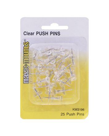 PUSH PINS CLEAR 25 PACK